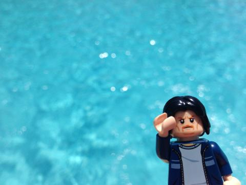Lego Uncle Jim by the blue pool